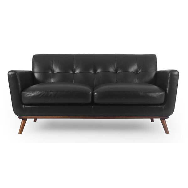 Discount Luther Mid-Century Leather Loveseat