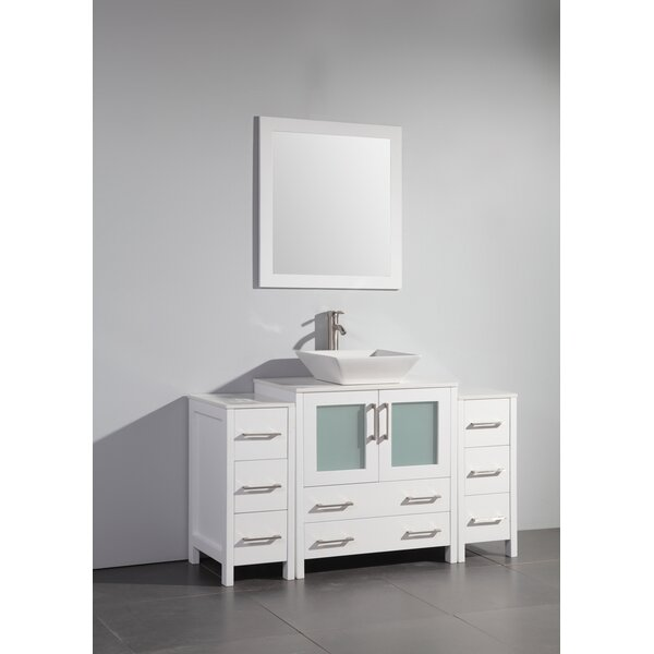 Karson Framed 54 Single Bathroom Vanity Set with Mirror by Wade Logan