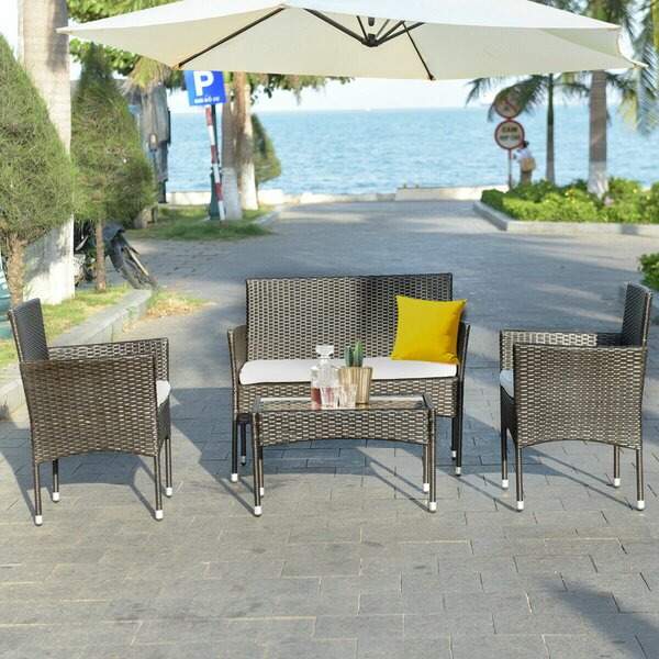 Bieber 4 Piece Rattan Sofa Seating Group with Cushion by Breakwater Bay