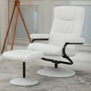 Belleze Manual Swivel Recliner with Ottoman