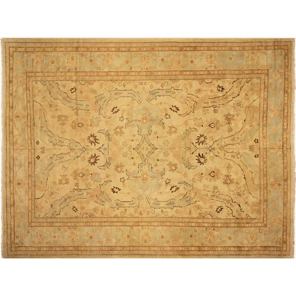 Badham Hand-Knotted Rectangle Wool Ivory/Blue Area Rug by Bloomsbury Market