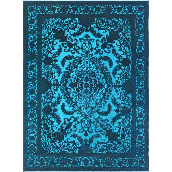 One-of-a-Kind Todd Distressed Qamargull Hand-Knotted Wool Blue Area Rug by Bloomsbury Market