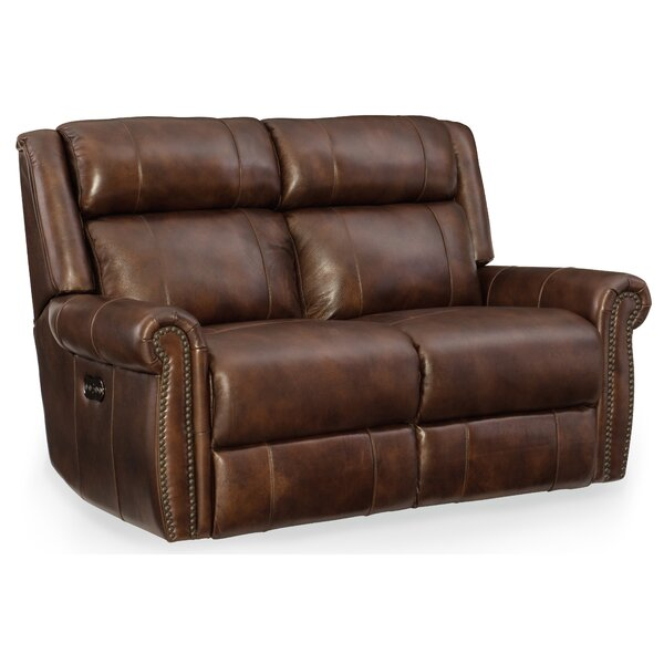 Esme Leather Power Motion Loveseat with Power Headrest by Hooker Furniture