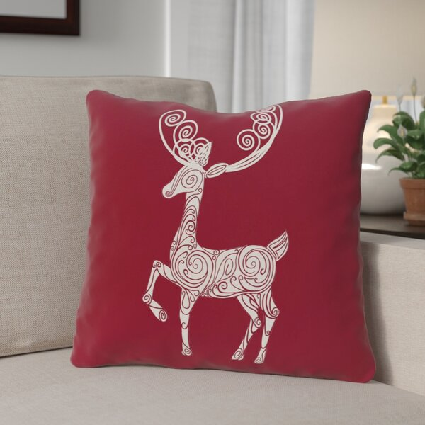 Deer Crossing Decorative Holiday Holiday Print Throw Pillow by The Holiday Aisle