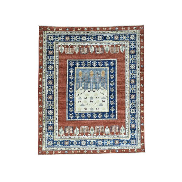 One-of-a-Kind Grabowski Hand-Knotted Rust Red/Navy Blue Area Rug by Bloomsbury Market