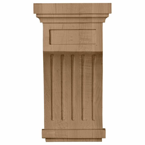 Fluted 10H x 5 1/2W x 5 1/2D Corbel in Rubberwood by Ekena Millwork