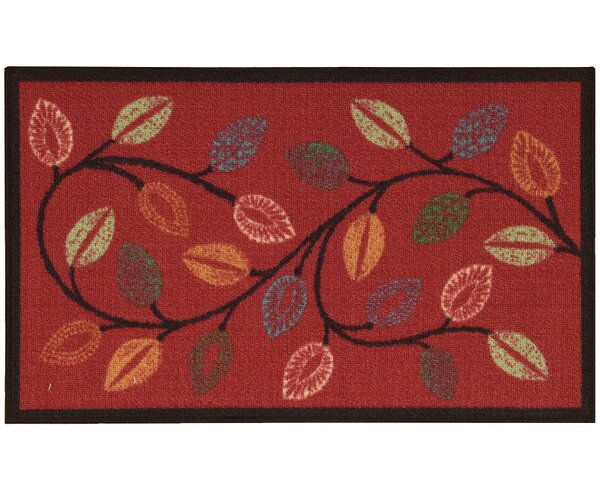 Fancy Free & Easy Leaflet Red Area Rug by Waverly