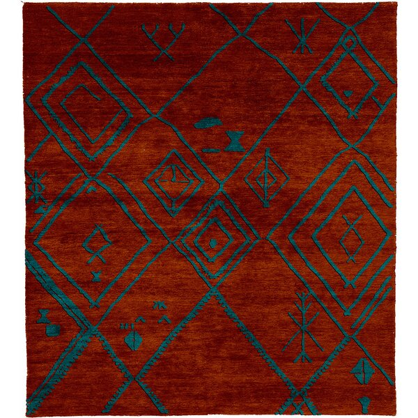 One-of-a-Kind Longcroft Hand-Knotted Traditional Style Red 9' x 12' Wool Area Rug