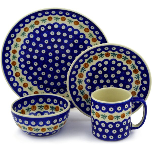 Mosquito Polish Pottery 4 Piece Place Setting, Service for 1 by Polmedia