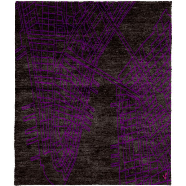 One-of-a-Kind Cressida Hand-Knotted Traditional Style Purple 12' x 18' Wool Area Rug