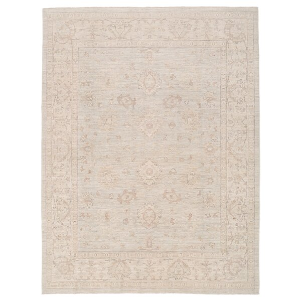 Vegetable Dye Hand-Knotted Ivory/Beige Area Rug by Herat Oriental