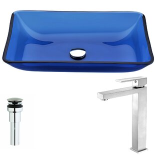 Online Reviews Harmony Glass Rectangular Vessel Bathroom Sink with Faucet By ANZZI