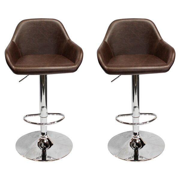 Isolde Adjustable Height Swivel Bar Stool (Set of 2) by Union Rustic