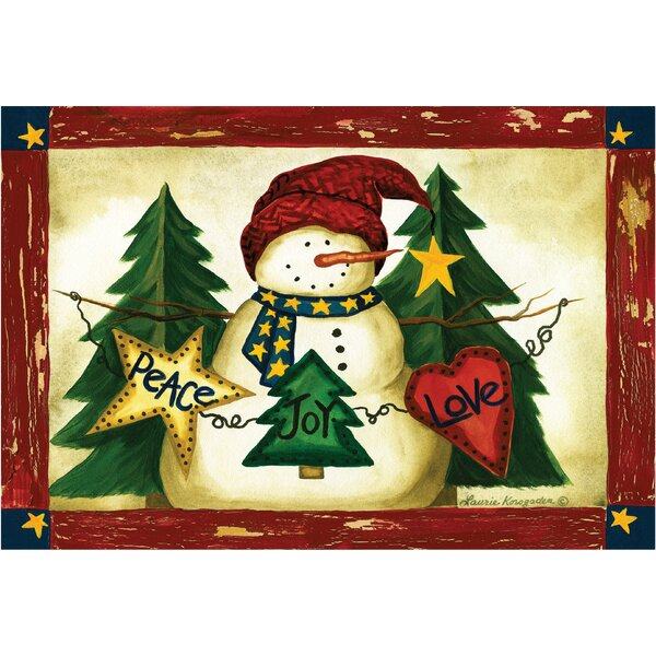 Snowman with Magic Words: Peace, Love, Joy Doormat by The Holiday Aisle