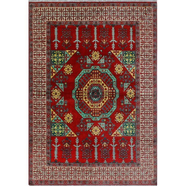 One-of-a-Kind Millender Sanura Hand-Knotted Wool Red Are Rug by Bloomsbury Market