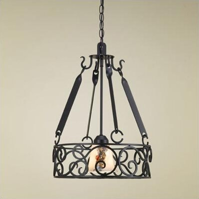 Authentic Iron Circular Hanging Pot Rack with Light by Hi-Lite