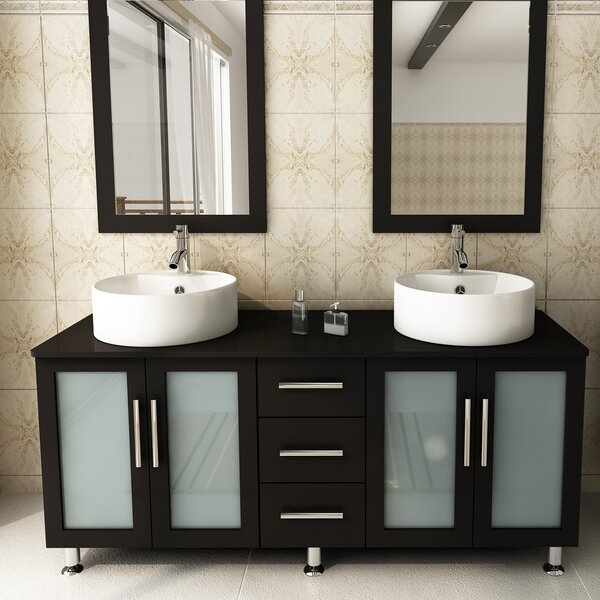 59 Double Lune Bathroom Vanity Set by JWH Living
