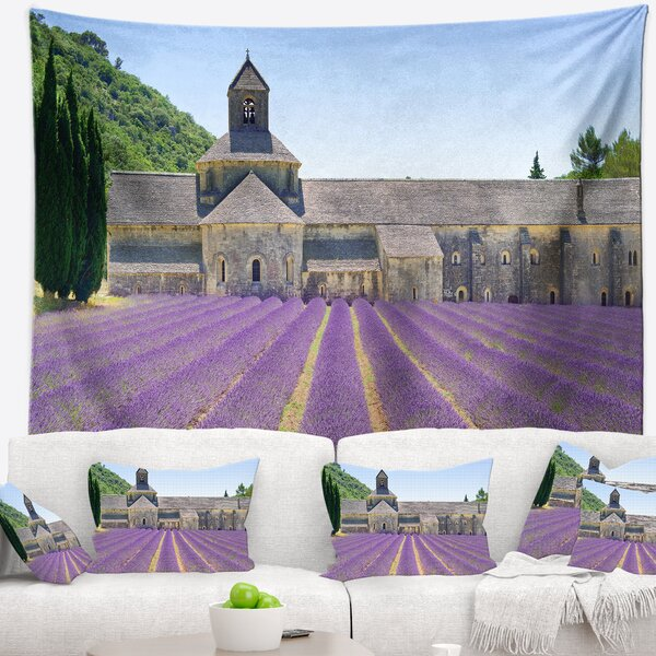 Landscape Abbey of Sasanqua Blooming Lavender Tapestry by East Urban Home