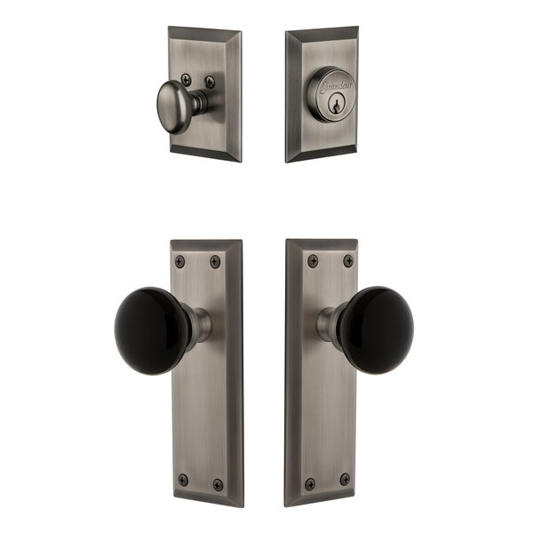 5th Avenue Plate Single Cylinder Knob Combo Pack with Coventry Knob and matching Deadbolt by Grandeur