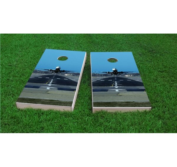 Passenger Jet Taking Off Cornhole Game Set by Custom Cornhole Boards