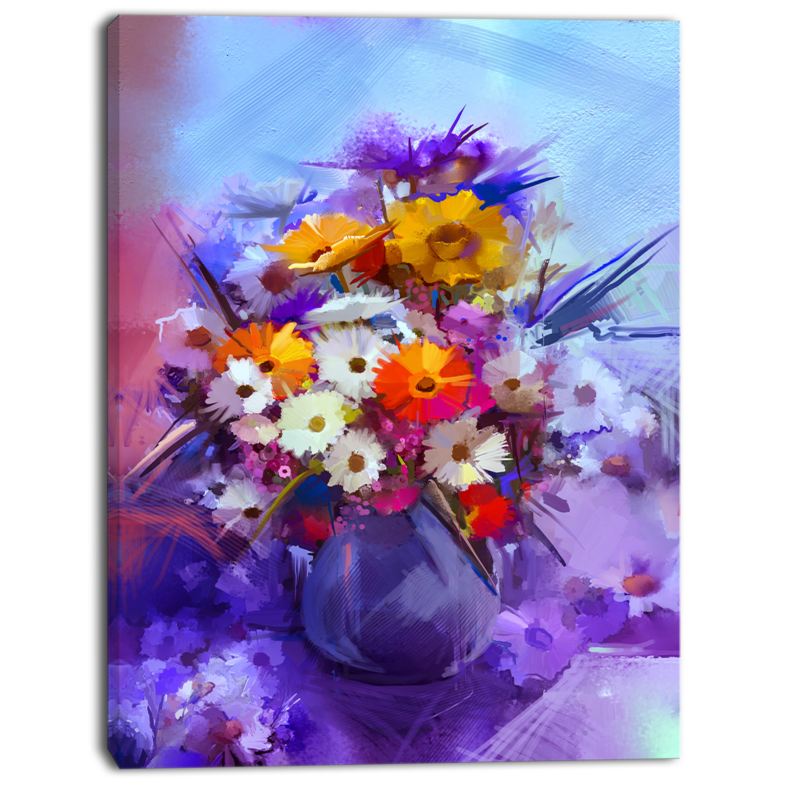 DesignArt Watercolor Flowers In Purple Vase Painting Print On Canvas