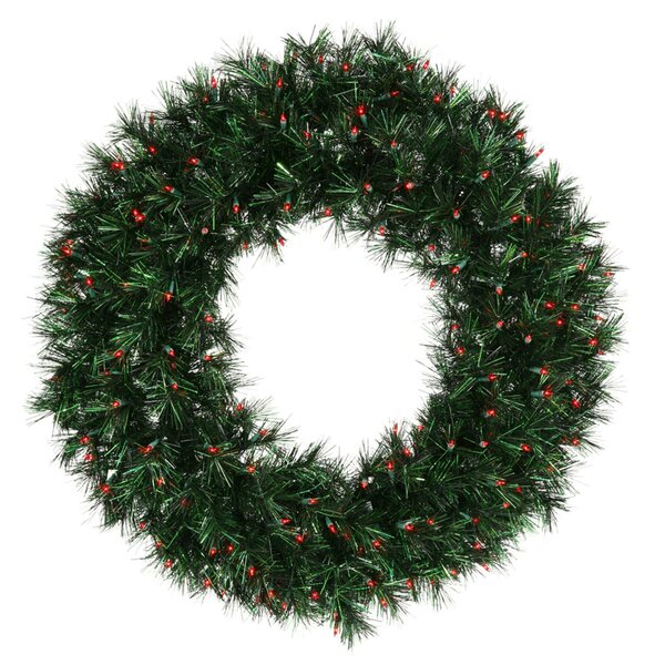 Pine Christmas Tinsel Wreath with Duva Lights by Vickerman