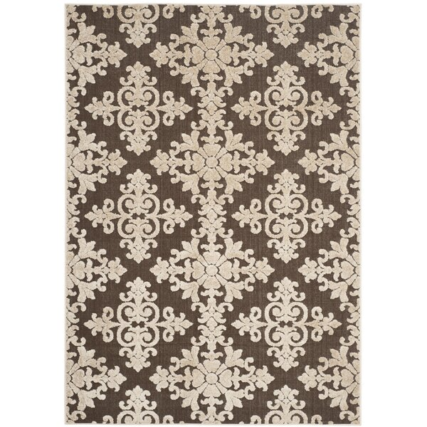 Kari Ivory/Brown Indoor/Outdoor Area Rug by Ophelia & Co.