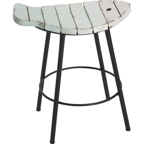 Moody Small Wooden Slatted Fish Accent Stool by Transpac