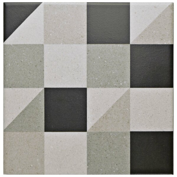 Heather 5.88 x 5.88 Porcelain Field Tile in Gray/Black by EliteTile