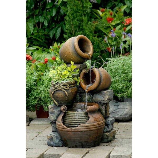Resin/Fiberglass Multi Pots Fountain by Jeco Inc.
