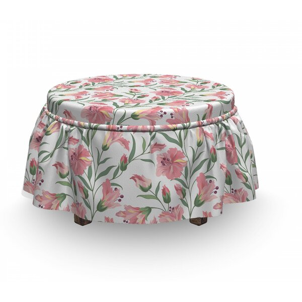 Home & Outdoor Fresh Blossoms Pastel Ottoman Slipcover (Set Of 2)