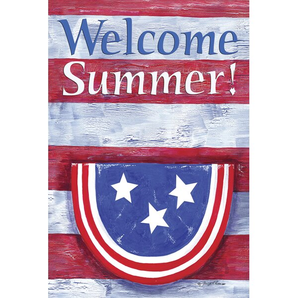 Bunting On Striped Welcome Summer Garden flag by Toland Home Garden