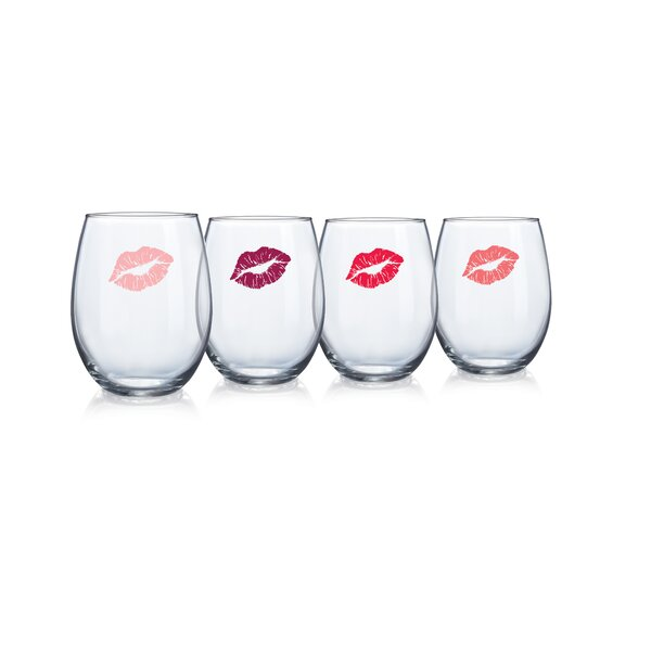 Rhona 15 Oz. Stemless Wine Glass (Set of 4) by House of Hampton