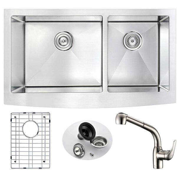 Elysian Double Bowl 32.875 L x 20.75 W  Farmhouse Kitchen Sink with Faucet by ANZZI