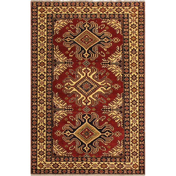 One-of-a-Kind Falgout Super Kazak Hand-Knotted Wool Red/Ivory Area Rug by Isabelline