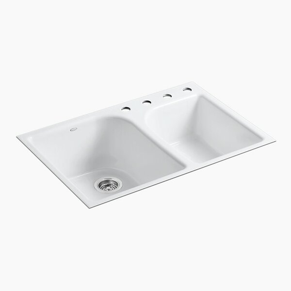 Executive Chef 33 x  x 10-5/8 Tile-In Large/Medium, High/Low Double-Bowl Kitchen Sink with 4 Faucet Holes by Kohler