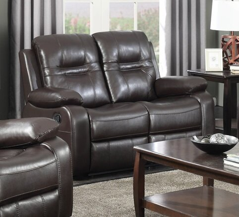 Home & Outdoor Napolean Leather Reclining Loveseat