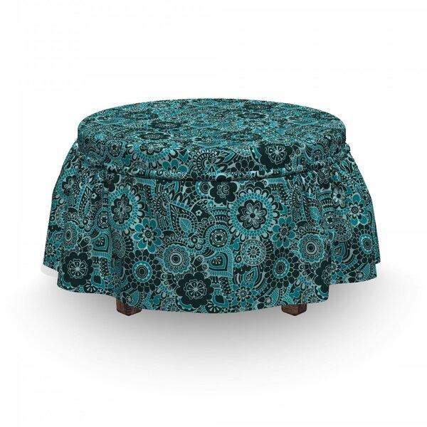 Ethnic Paisley Motifs Flowers 2 Piece Box Cushion Ottoman Slipcover Set By East Urban Home