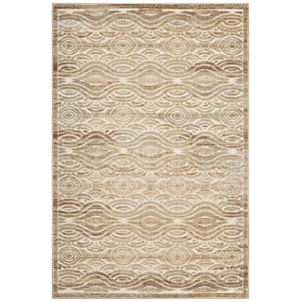 Prisha Rustic Vintage Waves Tan/Cream Area Rug by