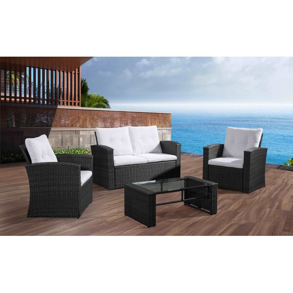 Gutshall 4 Piece Rattan Sofa Seating Group with Cushions by Alcott Hill