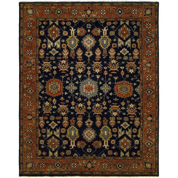 Dhairya Hand Knotted Wool Navy/Rust Area Rug by Darby Home Co