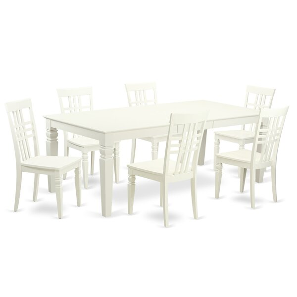 Beesley 7 Piece Linen White Wood Dining Set by Darby Home Co
