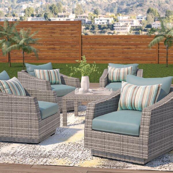 Melinda 5 Piece Rattan Sunbrella Seating Group with Cushions by Wade Logan