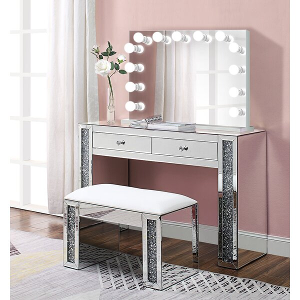 Alday Glam Diamonds Makeup Station Vanity Set With Mirror By Everly Quinn New Design