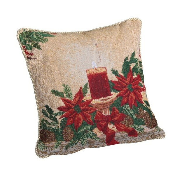 Decorative Christmas Poinsettias Candles Design Tapestry Throw Pillow by Violet Linen