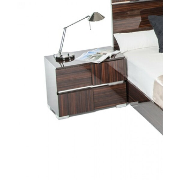 Falbo Modern 2 Drawer Wood Framed Nightstand by Orren Ellis
