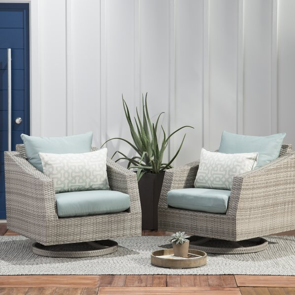 Castelli Swivel Patio Chair with Sunbrella Cushions (Set of 2) by Wade Logan