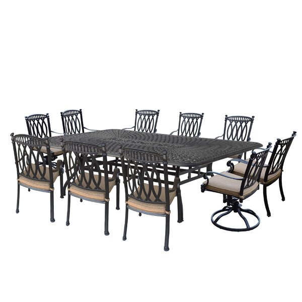 Otsego 11 Piece Aluminum Dining Set with Cushions by Darby Home Co