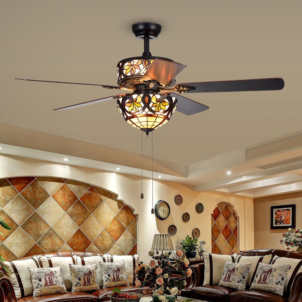 Fleur De Lis Living 15 Cerny 5 Blade Standard Ceiling Fan With Pull Chain And Light Kit Included Reviews Wayfair