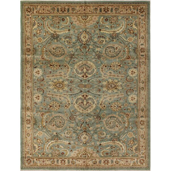 Clerkin Hand Knotted Rectangle Wool Green/Beige Area Rug by Astoria Grand